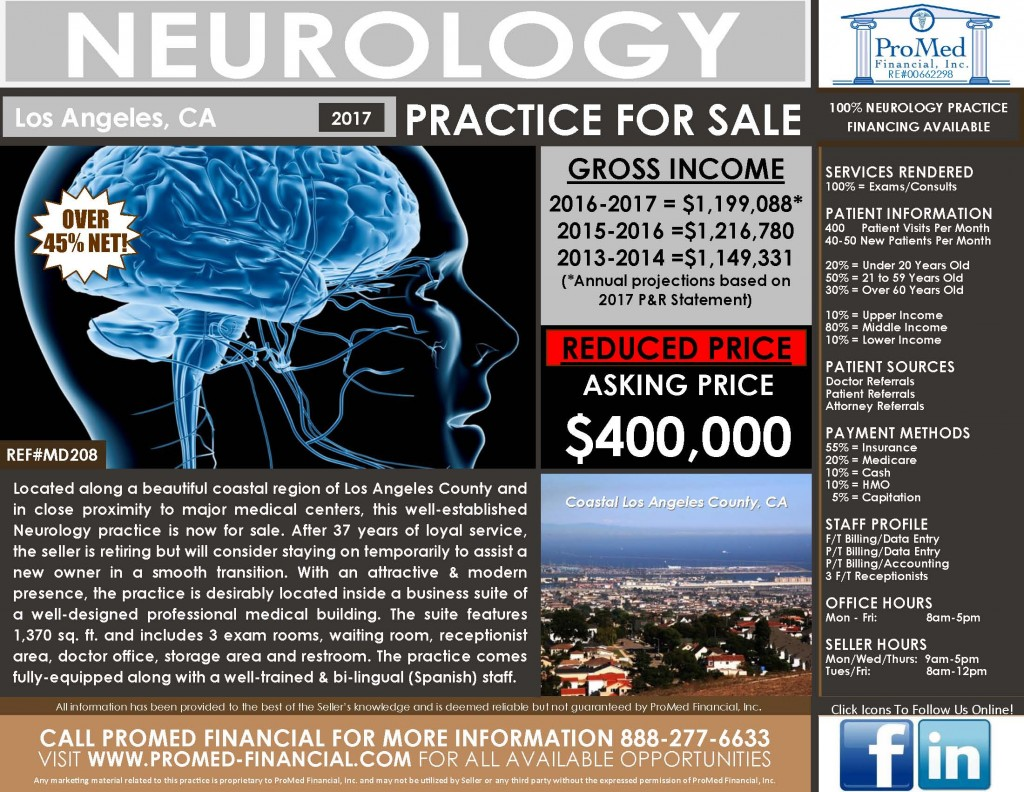 Los Angeles Neurology Practice for Sale