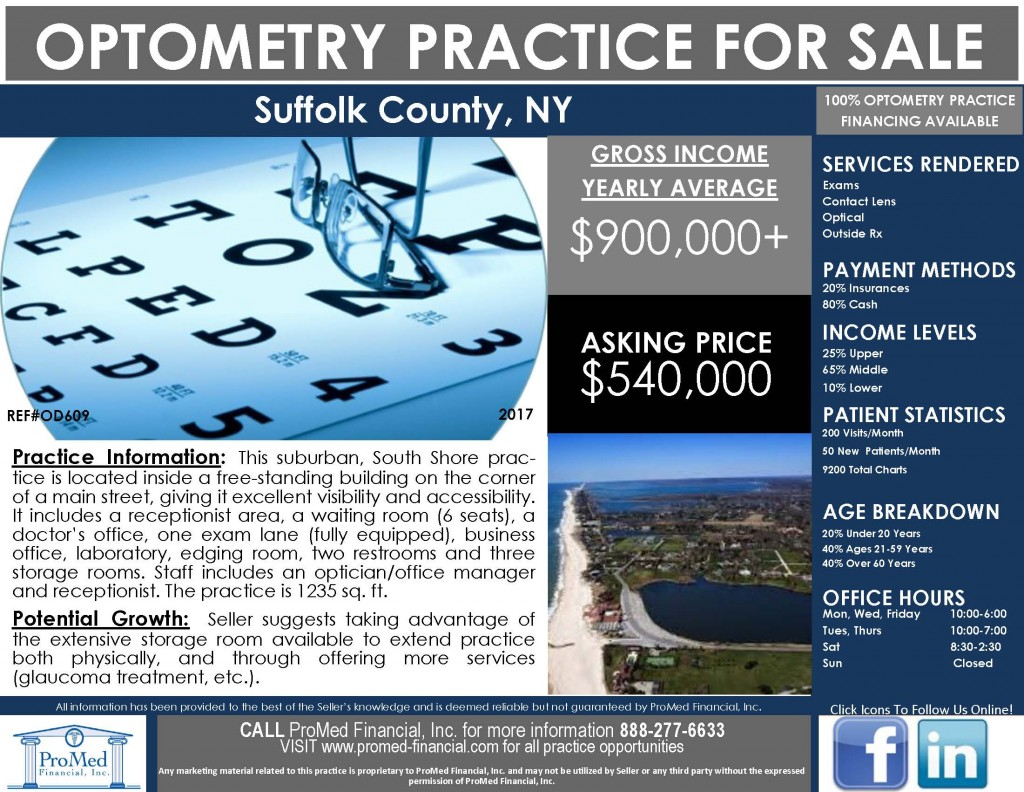 Reduced Price Optometry Practice in NY
